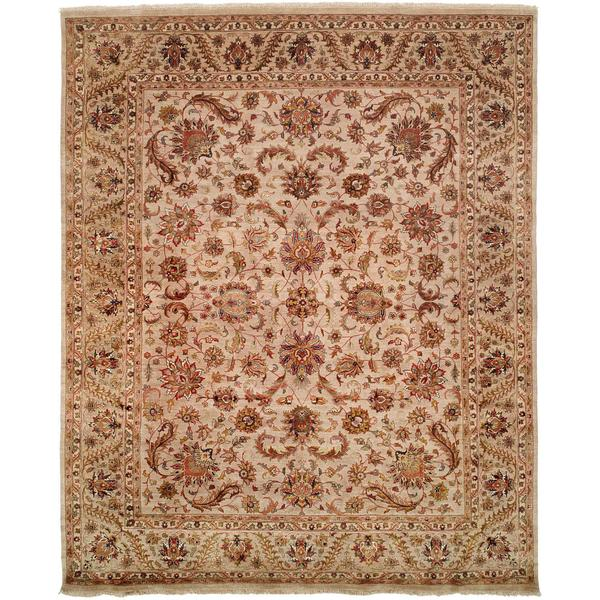 Tabernacle Ivory Wool and Silk Hand-knotted Area Rug (8' x 10')