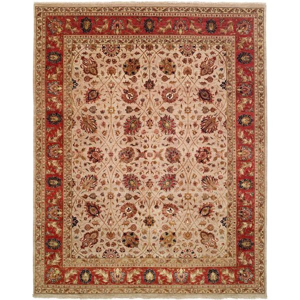 Tabernacle Ivory/Rust Wool/Silk Hand-knotted Area Rug (10' x 14')