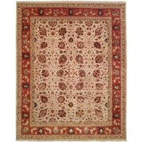 Tabernacle Ivory/Rust Wool Hand-knotted Area Rug (8' x 10') - 8' x 10'
