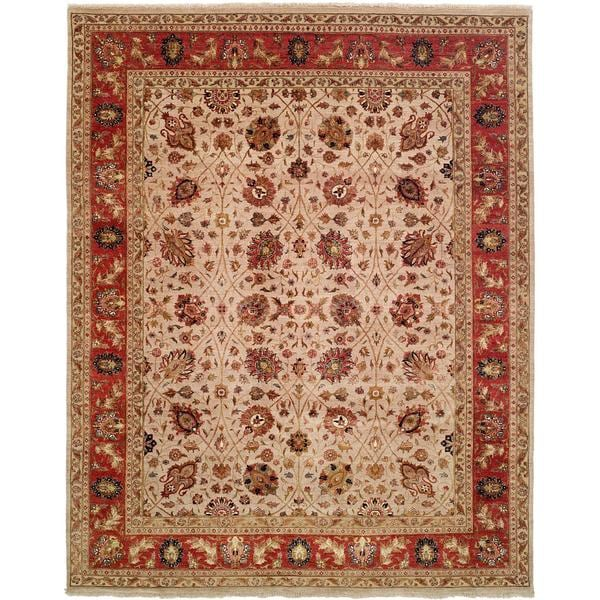 Tabernacle Ivory/Rust Wool Hand-knotted Area Rug (8' x 10')