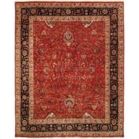 Tabernacle Rust/Black Wool Hand-knotted Area Rug (10' x 14') - 10' x 14'