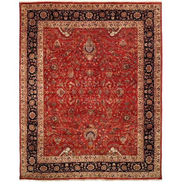 Tabernacle Rust/Black Wool Silk Hand-knotted Area Rug (8' x 10')