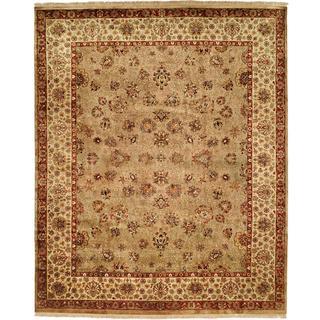 Tabriz Hand-knotted Camel/Ivory New Zealand Wool/Silk Indoor Rectangular Area Rug (6' x 9') - 6' x 9'