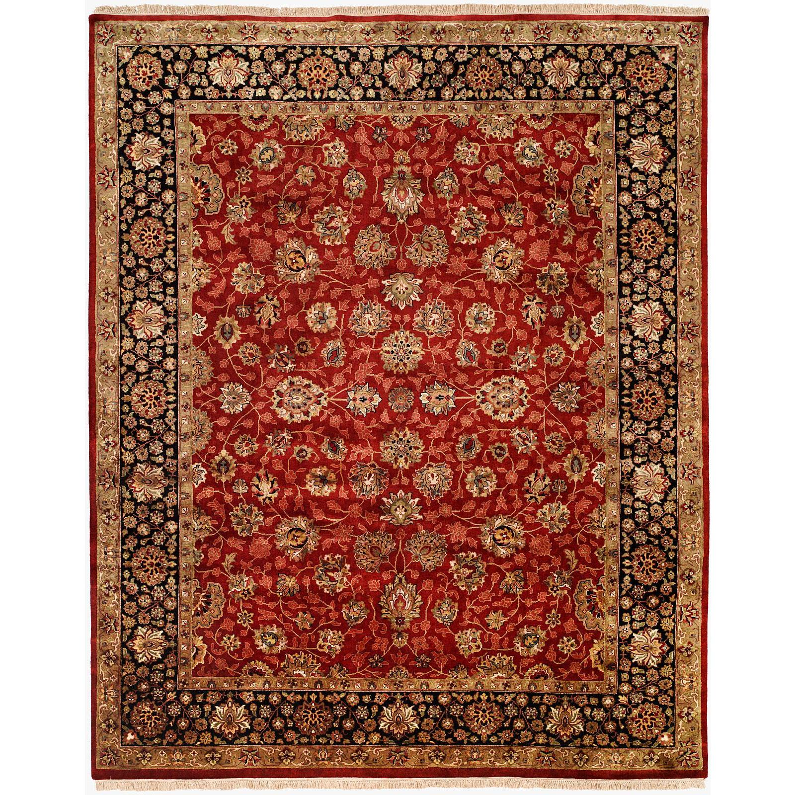 Tabriz Red Black Wool Silk Hand Knotted Area Rug 6 X 9 6 X 9 Overstock 18595309