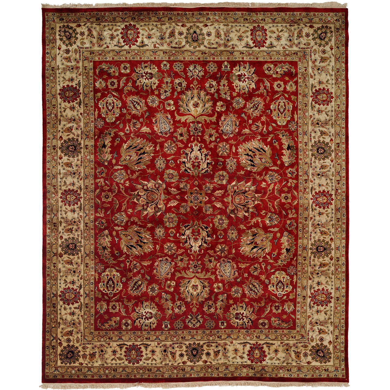 Tabriz Hand-knotted Rust/Ivory New Zealand Wool/Silk Indoor Rectangular Area Rug (6 x 9) - 6 x 9 (TR-554 69)