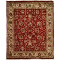 Tabriz Hand-knotted Rust/Ivory New Zealand Wool/Silk Indoor Rectangular Area Rug (6' x 9')