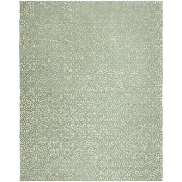 Valencia Teal Hand-tufted Wool Area Rug (10' x14')