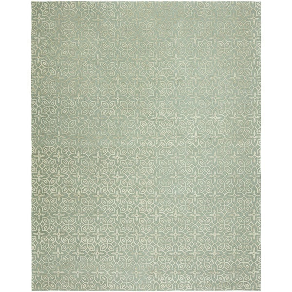 Valencia Blue Wool Hand-tufted Area Rug (8' x 10')