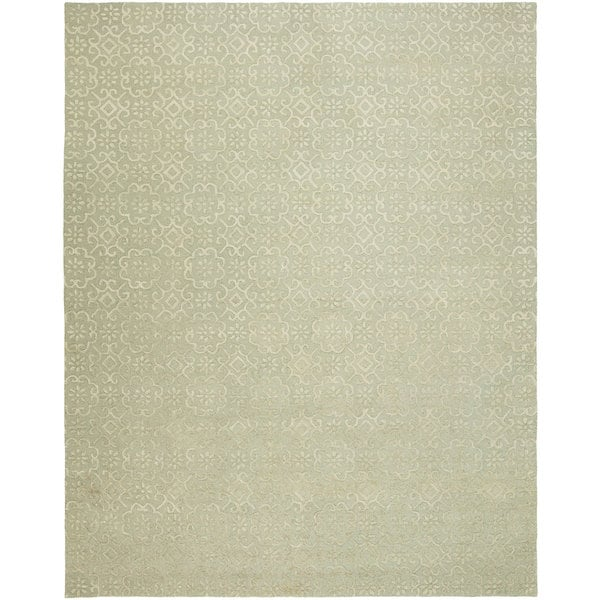 Valencia Contemporary Camel Wool/Viscose Hand-tufted Area Rug (8' X 10') - 8' x 10'
