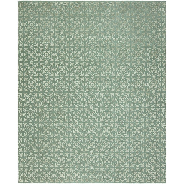 Valencia Metallic/Blue Wool Hand-tufted Area Rug (10' x 14')
