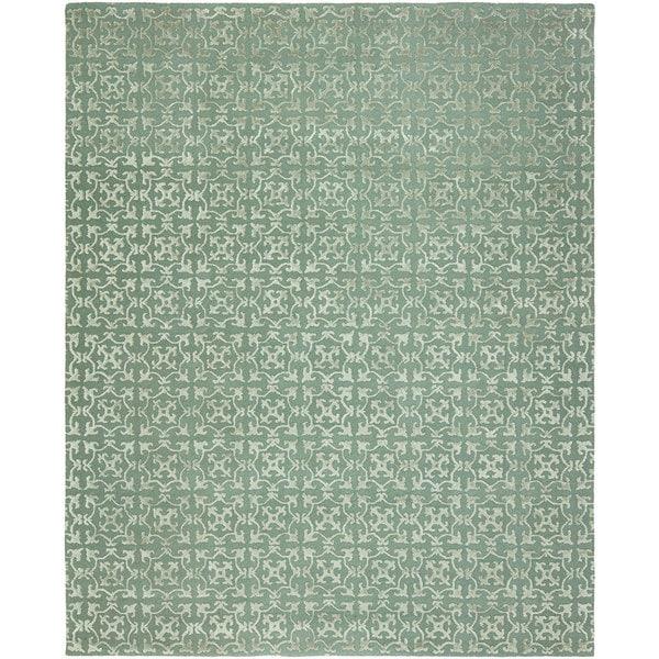 Valencia Metallic/Blue Wool Hand-tufted Area Rug (10' x 14') - 10' x 14'