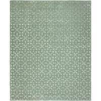 Valencia Metallic Blue/Ivory Viscose/Wool Hand-tufted Geometric Area Rug (8' x 10')
