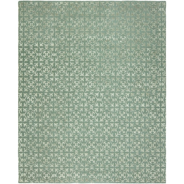 Valencia Metallic Blue/Ivory Viscose/Wool Hand-tufted Geometric Area Rug (8' x 10')