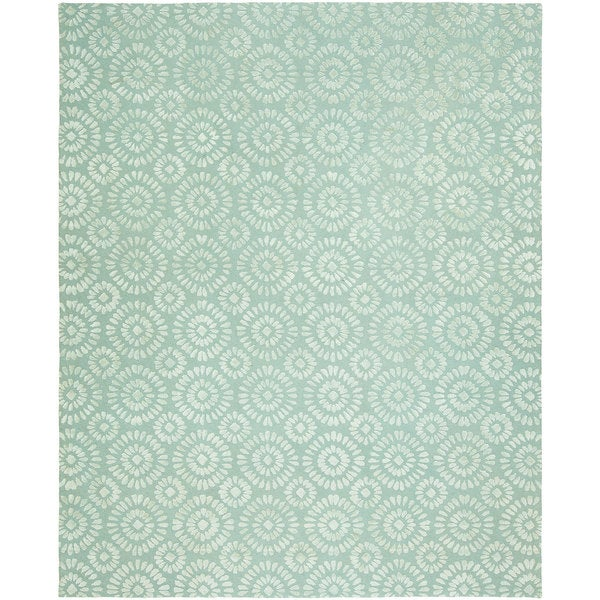 Valencia Ocean Blue Wool and Viscose Hand-tufted Area Rug (8' x 10')