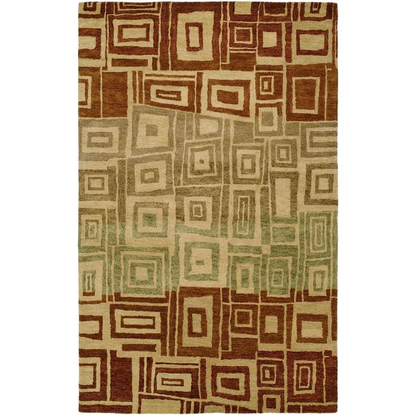 Vista Multicolored Red Ombre Wool Hand-tufted Area Rug - 8' x 11'