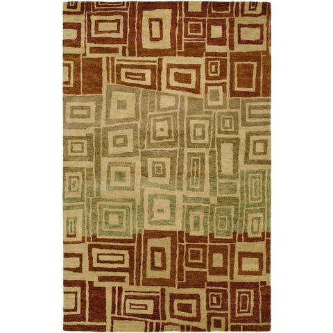 """Vista Red/Ombre Hand-Tufted Area Rug (3'6"""" x 5'6"""") - 3'6"""" x 5'6"""""""