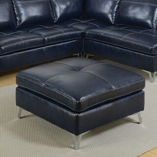 Furniture of America Cleoren Contemporary Dark Blue Leather Gel Ottoman