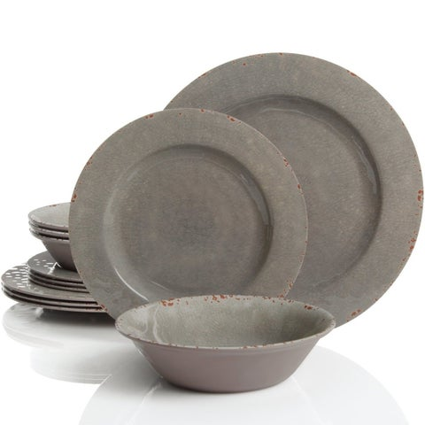 Rustic 12 Pcs. Durable Melamine Dinner set For 4 Person - Gray
