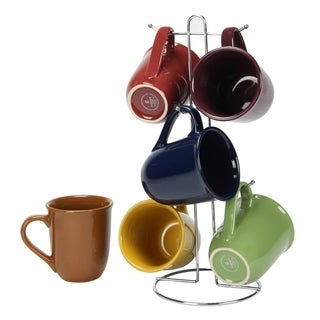 Ceramic Color 15 Oz. Mug set With Metal Tree Stand Rack Colors