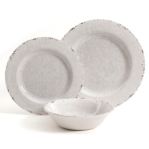 Rustic 12 Pcs Durable Melamine Dinner Set For 4 Person Ice White