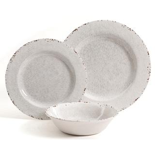 Rustic 12 Pcs. Durable Melamine Dinner set For 4 Person - Ice White