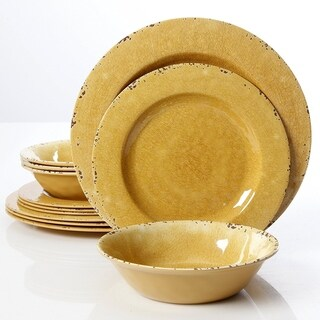 Rustic 12 Pcs. Durable Melamine Dinner set For 4 Person - Mustard Yellow