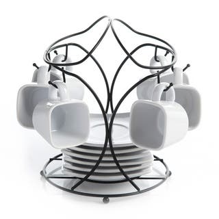 High Quality Porcelain 13 pcs. Espresso Cup Set With Stand Coffee Cups With Rack