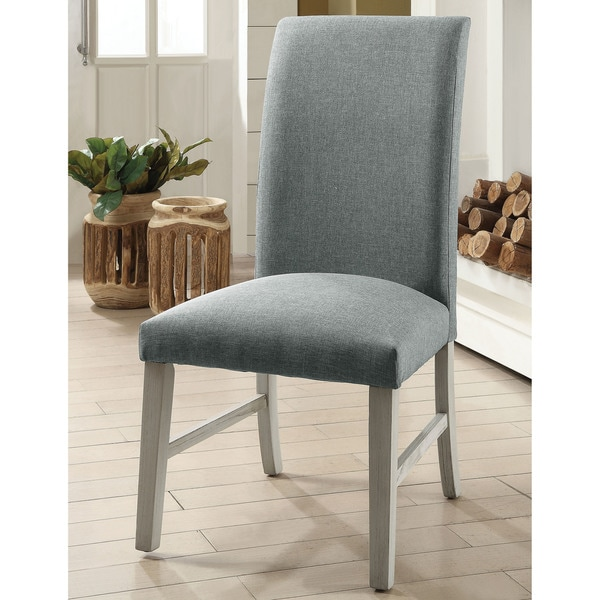 Furniture of America Eclapon Faux Linen Dining Chair (Set of 2)
