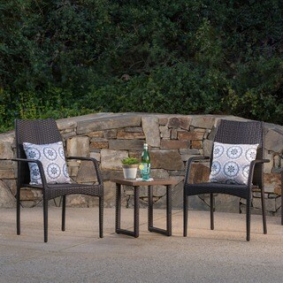 Hermine Outdoor 3-Piece Square Wicker Aluminum Bistro Chat Set by Christopher Knight Home