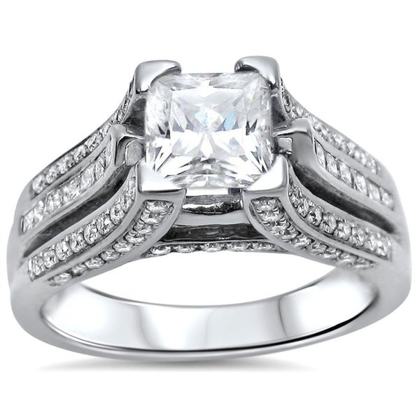 Noori 1 1/4ct Princess Moissanite and 1ct Diamond Engagement Ring 14k White Gold