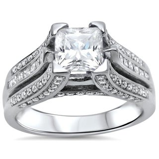 Noori 1 1/4ct Princess Moissanite and 1ct Diamond Engagement Ring 14k White Gold