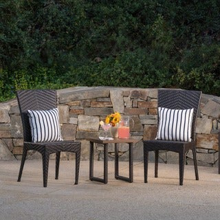 Rita Outdoor 3-Piece Square Wicker Aluminum Bistro Chat Set by Christopher Knight Home