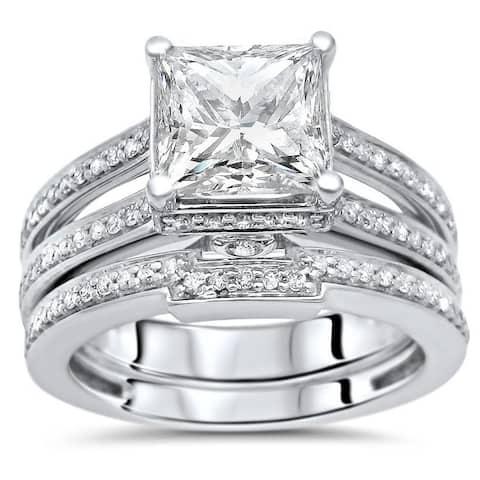 2ct Princess Moissanite and 3/4ct Diamond Engagement Ring Wedding Set 14k White Gold