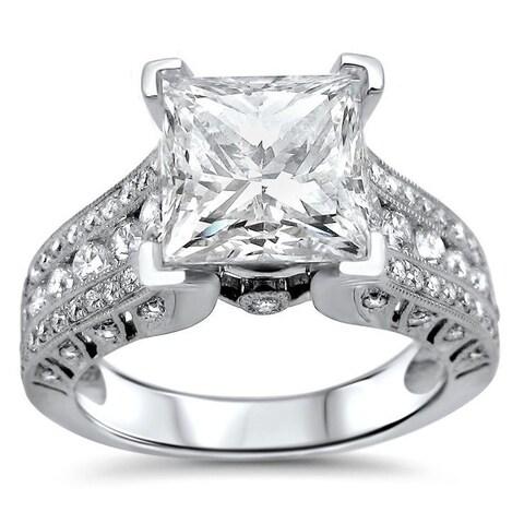 Noori 2ct Princess Moissanite and 4/5ct Diamond Engagement Ring 18k White Gold