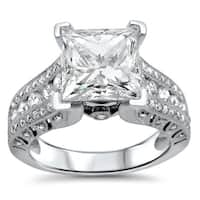 Noori 2ct Princess Moissanite and 4/5ct Diamond Engagement Ring 18k White Gold