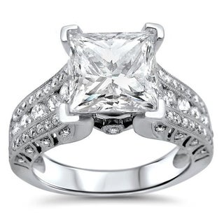 Noori 2ct Princess Moissanite and 4/5ct Diamond Engagement Ring 18k White Gold (More options available)