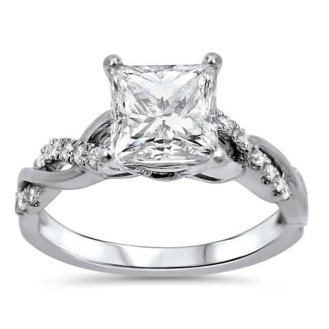 1 1/4ct Princess Moissanite and 1/5 ct Diamond Engagement Ring 14k White Gold