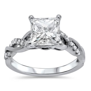 1 1 4ct Princess Moissanite And 1 5 Ct Diamond Engagement Ring 14k White Gold