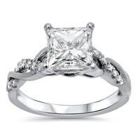 Noori 1 1/4ct Princess Moissanite and 1/5 ct Diamond Engagement Ring 14k White Gold