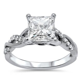 Noori 1 1/4ct Princess Moissanite and 1/5 ct Diamond Engagement Ring 14k White Gold