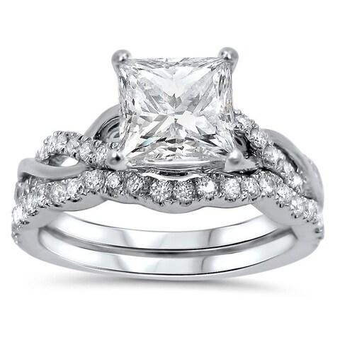 Noori 1 1/4ct Princess Moissanite and 2/5 ct Diamond Engagement Ring Bridal Set 14k White Gold