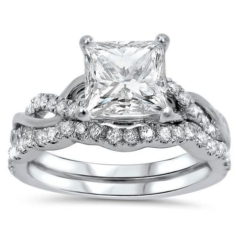 1 1/4ct Princess Moissanite and 2/5 ct Diamond Engagement Ring Bridal Set 14k White Gold