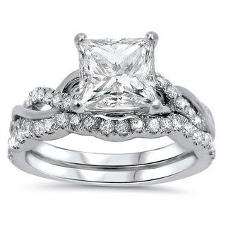 Noori 1 1/4ct Princess Moissanite and 2/5 ct Diamond Engagement Ring Bridal Set 14k White Gold