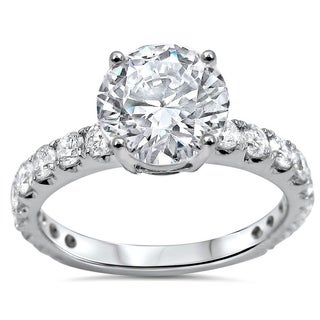 Noori 1 1/3ct Round Moissanite and 3/4ct Diamond Engagement Ring 18k White Gold