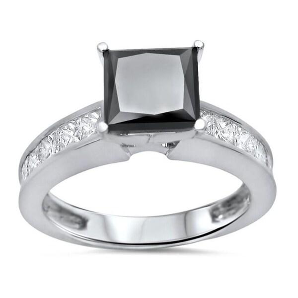 2CT Princess-Cut Diamond Halo Bridal Set Engagement Ring 10k White Gold Finish