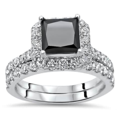 2 2/5 ct Princess Cut Black Diamond Engagement Ring Bridal Wedding Set 18k White Gold