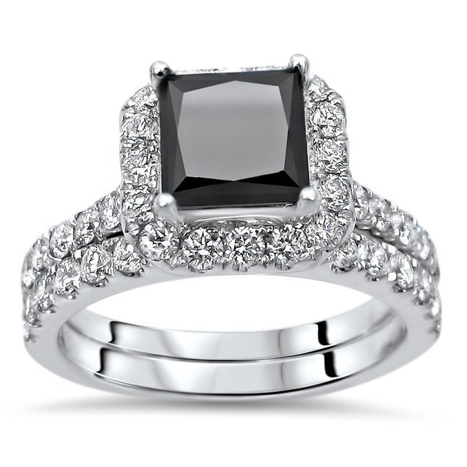 Black Diamond Wedding Ring.2 2 5 Ct Princess Cut Black Diamond Engagement Ring Bridal Wedding Set 18k White Gold