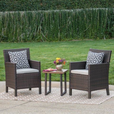 Outer Outdoor 3-Piece Square Wicker Aluminum Bistro Chat Set with Cushions by Christopher Knight Home
