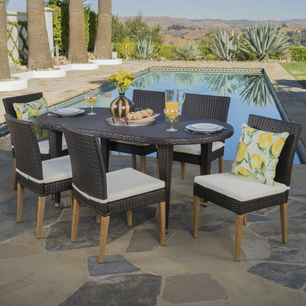 Mazaki Outdoor 7-piece Oval Wicker Dining Set with Cushions by Christopher Knight Home