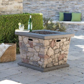Carson Outdoor Square Propane Fire Pit Table with Lava Rocks by Christopher Knight Home